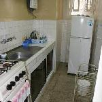 much needed fridge for water, fully equipped kitchen