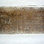 Exposed beam in the bedroom - carved name Pierre Avsudre - 1757 - possibly former french prisone