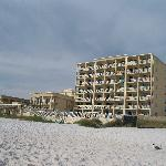 Looking at the motel from the beach
