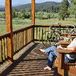 Relaxing on the cabin's porch