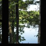 view out cabin's living room window