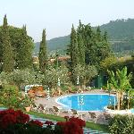 View over the pool, Villa Madrina, Garda.