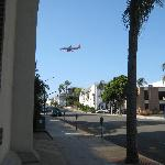 Plane landing, view from down the street