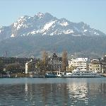 View from the hotel across Lake Luzern