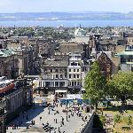 Plaza by National Gallery & Firth of Forth from flat