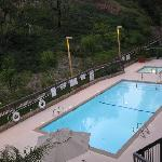 Heated pool with nice greenery on a hill.