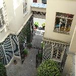 The view of the courtyard entrance of the hotel from our room