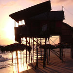 Beach barraca on sun rise