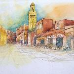 Aquarell von Si Ben Slimane, 5 Minuten vom Riad