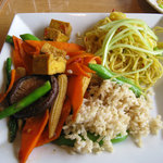 vegetable tofu stir fry - carmelized garlic noodles