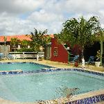 The pool at the restaurant and bar at the Sand Dollar Resort