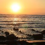 lever de soleil sur la plage de Mirage