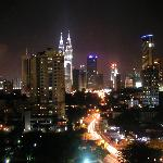 Night shot of petronus towers from Lanson place
