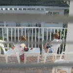 Breakfast on the veranda outside Room 7 - immediately below is the pool