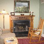 The fireplace in the Zane Room