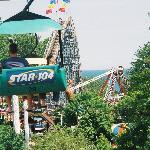 View of the Ravine FLyer 2, the Sea Dragon, and Lake Erie from the sky lift