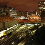 Victoria Station at night from our window