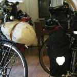 Miguel's Jandd next to Hildy, my bike loaded for a weekend tour. Michael is from Spain, and I me