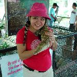 Sam and her new pet at the Crocodile Farm