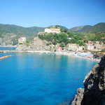 The beach in Monterosso from the trail