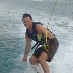 Enjoying some wakesurfing.