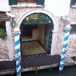 Gondola stop on side of Hotel
