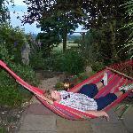 hubby relaxing in the garden