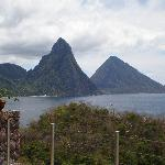 Twin Pitons view from Jade Mountain