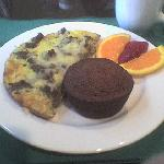 Potato, onion, & sausage frittata with banana muffin