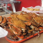 Crabs are delived to your table on a large tray
