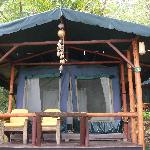 A beach side tent cabin, with local decorations