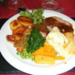 Lamb with some of the delicious home grown vegetables served with the meal