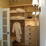 closet of the montcalm suite at the hovey manor