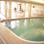 Pool area smelled heavily of clorine and was very warm inside.  Good for winter time, but must b