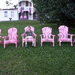Connor in the pink chairs