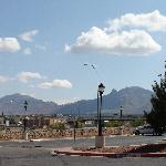 view of mountains from parking lot