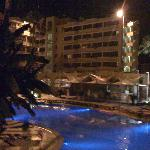 night pic of pool area