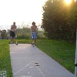 Enjoying a game of shuffleboard