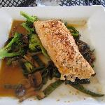 Roasted Salmon with sweet chili sauce and veggies