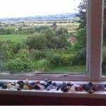 view overlooking countryside with crystals