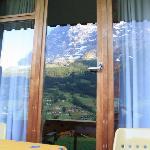 Eiger refelction on patio doors