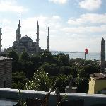 View from hotel roof (Museum of Turkish & Islamic Arts on left, Blue Mosque, Obelisk in Hippodro