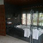 The bathroom with TV