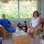 Having coffee on the enclosed porch