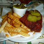 This is the (red) hot chicken. Get lots of pickles and two drinks!
