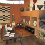 A log fire warms the space