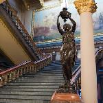 Grand staircase, statue and Iowa mural