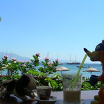 enjoying espresso and iced latte in Datca