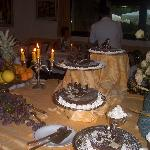 buffet con torta scacchiera