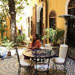 Enjoying the peaceful courtyard